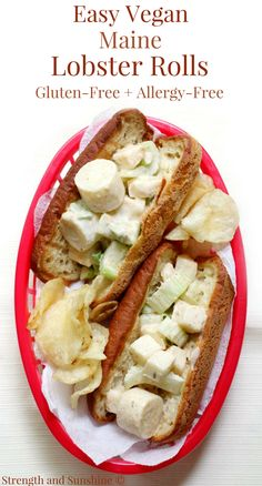 Easy Vegan Maine Lobster Rolls (Gluten-Free, Allergy-Free)   Strength and Sunshine @RebeccaGF666 Nothing screams New England summer than a lobster roll! These Easy Vegan Maine Lobster Rolls are gluten-free, allergy-free, meatless, and fit for everyone to enjoy! A simple, healthy, and delicious recipe that redefines this classic fast-food sandwich! #lobsterrolls #sandwich #glutenfree #vegan #meatless #newengland #maine #strengthandsunshine