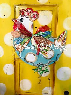 Funky Chicken Door Hanger by WhimsyGirlArt on Etsy