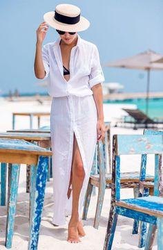 camisa comprida branca saia de praia