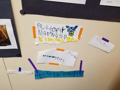 Word Wall created by the children using prompts in the writing center.