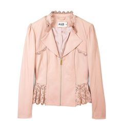 ALICE by Temperley Pink Lasercut Leather Jacket (14.881.915 VND) ❤ liked on Polyvore featuring outerwear, jackets, coats, tops, zip jacket, ruffle leather jacket, zipper leather jacket, pink jacket and zipper jacket