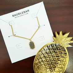 """BaubleBar Solaris Stone Necklace Gray Sold out everywhere! As seen on YouTube blogger and makeup guru Tiffany D.- Gorgeous, NWT BaubleBar """"Solaris"""" pendant necklace in gold, with a beautiful, faceted smokey gray stone. The perfect size to wear by itself or layered! BaubleBar Jewelry Necklaces"""
