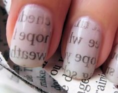 Newspaper Nails - Do it Yourself! Cute and Easy! OK INSTRUCTIONS: paint nails ( any light color) and let hard-dry. Next dip a piece of newspaper in nail polish remover, or alcohol. Press the newspaper on your nail, then peel away. DONE! They turn out really cool.