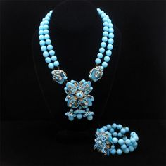 Miriam Haskell Necklace Bracelet Set Vintage Superb Blue Glass #MiriamHaskell