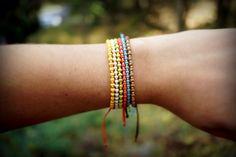 Colorful Seed Bead Bracelets with Brass Beads - Pura Vida Style Bracelet - Beach Style