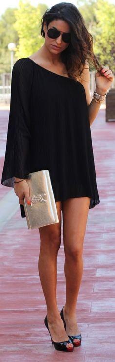 Bershka Black Chiffon Asymmetrical Long Sleeve One Shoulder Mini Dress by Farabian