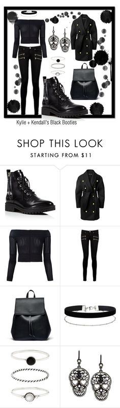 """Kylie + Kendall's Black Booties"" by mdfletch ❤ liked on Polyvore featuring Kendall + Kylie, Balmain, Barbara Casasola, Paige Denim, Sole Society, Miss Selfridge, Accessorize, Betsey Johnson and blackbooties"