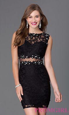 Short Bateau Neck Lace Dress 9099 at PromGirl.com