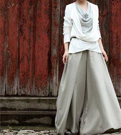 Women grey linen wid