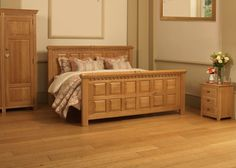 The County Kerry traditional solid wooden bed offers a hint of rustic Irish charm. Built to order from the finest materials including solid European oak. Solid Oak Beds, Wooden Beds, Panelling, Bed Design, Natural Wood, Craftsman, Turning, Tooth, Irish