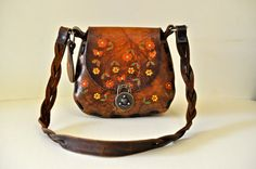 Vintage Hand Tooled Leather Saddle Bag Purse Canale by NORAVINTAGE