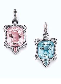 A PAIR OF MORGANITE AND AQUAMARINE EAR PENDANTS, BY JAR Each set with a cushion-cut morganite or aquamarine, within an undulating diamond frame, accented by a smaller pear-shaped morganite or aquamarine, suspended from a diamond-set hoop, mounted in platinum and 18k pink gold, with French assay marks and maker's mark, in a JAR pink leather fitted case Signed JAR, Paris