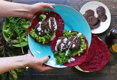 If you love garlicky, nutritious foods, then you need to try these bean patty wraps. The homemade wraps are made from chickpea flour and are made bright pink thanks to beets.