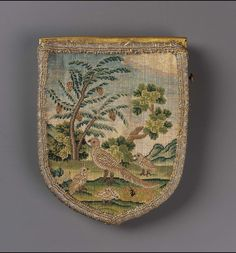 1700-50  Bag, French.  Silk and metallic threads embroidered on linen ground, metal closure.   mfa.org