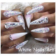 White Nails And Artistic Nail Styles Bling Stiletto Coffin Glitter