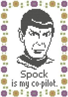 Items similar to cross stitch pattern embroidery spock is my co-pilot pdf star trek on Etsy Cross Stitching, Cross Stitch Embroidery, Embroidery Patterns, Cross Stitch Designs, Cross Stitch Patterns, Stitching Patterns, Star Trek Cross Stitch, Cross Stitch Quotes, Nerd Crafts