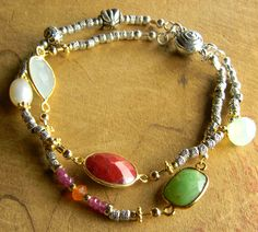 Bohemian Tribal Jewelry Bracelet Thai Hill Tribe Sterling Silver Gold Filled Red Ruby Chrysoprase @chrysalistoo