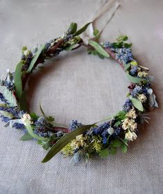 Woodland Meadow Flower Crown of Lavender Larkspur Lichens, Moss Ferns, Seeded Eucalyptus, Grasses, and other dried flowers ❤️SHIPPING DETAILS Please consider shipping timing when ordering. BECAUSE OUR CALENDAR IS VERY FULL AND WE WILL BE HARVESTING LAVENDER SOON, THIS ITEM will ship
