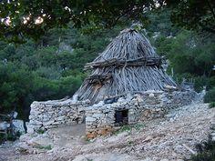 Dorgali, Sardinia in Italy. Traditional hut.