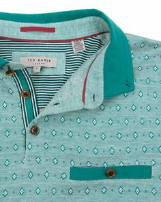 Jacquard polo - Green | Tops & T-shirts | Ted Baker UK Polo Rugby Shirt, Mens Polo T Shirts, Printed Polo Shirts, Boys T Shirts, Camisa Polo, Urban Fashion, Mens Fashion, Polo Outfit, Surf Wear