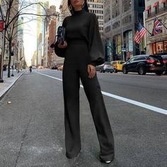 Lantern Sleeves Jumpsuit Yellow White Black Spring Summer Half High Collar Lantern Sleeves Simple Ol Wind black S Bodycon Jumpsuit, Jumpsuit Casual, Yellow Jumpsuit, Formal Jumpsuit, Fitted Jumpsuit, Overalls Women, Winter Stil, Pants For Women, Clothes For Women