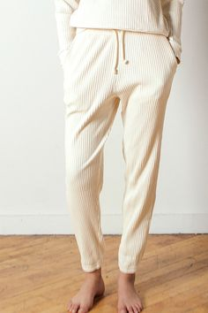 Baserange Sweat Pants Rib in Off-white