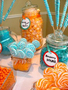 Turquoise and orange candy bar. Annual gala for Our Lady of Mercy Catholic School.