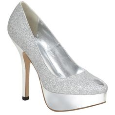 Britney by Lava Shoes: Silver glitter platform pump with 4 inch heel on 1 inch platform. Bat Mitzvah Dresses, Rose Gown, Silver Wedding Shoes, Glitter Heels, Silver Glitter, Clean Shoes, Dressy Dresses, 2 Inch Heels, New Shoes