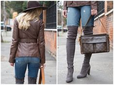 30dbd8509 dark brown belted leather jacket, Paige distressed denim jeans with over  the knee boots,