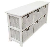 Pine Wood Storage Cabinet With 6 Even Box Drawers White Color