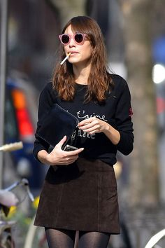 Alexa Chung - Alexa Chung Strolls Through SoHo, suede mini skirt