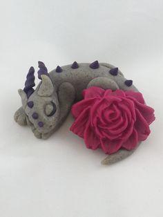 Handmade Polymer Clay Dragon Sleeping with a Magenta Peony Flower, Gray body and Purple Horns