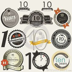 company anniversary card design | 10 Years Anniversary Signs And Cards Design Stock Photography - Image ...