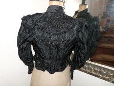 Victorian silk brocade w lace jacket blouse Antique French black boned jacket w jet stone beads 1800s gothic steampunk women clothing by MyFrenchAntiqueShop on Etsy