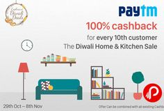 The Diwali Home and Kitchen Sale. 100% #cashback For Every 10th Customers on @paytm  http://www.paisebachaoindia.com/100-cashback-for-every-10th-customers-paytm/
