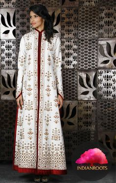 Ivory light matka silk jacket with Kashmiri embroidery by Rohit Bal at Indianroots.com