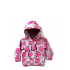 Minti Baby Mitten Hood Sleepy Bunny Grey/Pink Spot