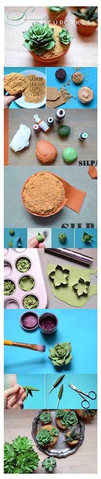 succulent txt cupcakes