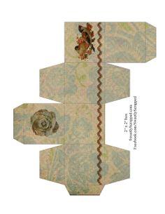 "Sweetly Scrapped: Free Printable Favor Box, 2"" x 2"", Vintage Look"