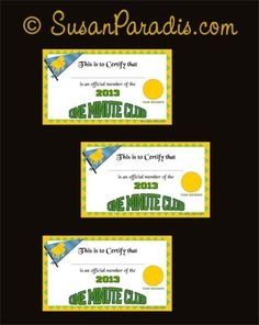 2013 One Minute Club Cards