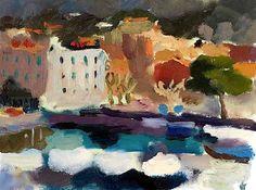 Annabel Gault Harbour, Cassis II oil on paper Landscape Paintings, Landscapes, Exhibitions, Sculptures, Oil, Drawings, Paper, Amazing, Paisajes