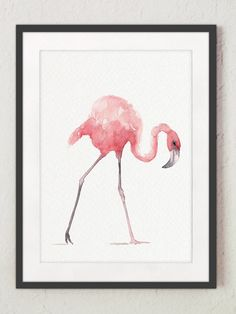 Flamingo Whimsical Art Print Set 4 Pink Kids Nursery Room