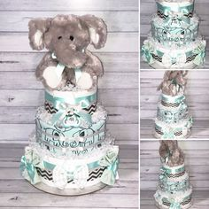 So sweet! The mint colour and soft elephant on this nappy cake are so cute! This gift includes: - Huggies Newborn Nappies - Flannelette Wraps - Baby Blanket - Gentle Face Washers - Soother - Plush Elephant Toy