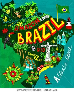 Illustrated map of Brazil