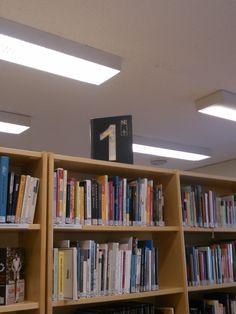 Muutamien hyllyjen päälle tehty vanhoista kirjoista pääluokan numero.