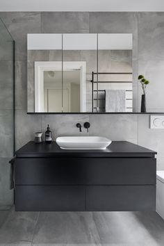 Black Cabinets Bathroom, Grey Bathroom Furniture, Grey Bathroom Interior, Black Vanity Bathroom, Grey Bathroom Tiles, White Bathroom, Grey Vanity Unit, Grey Tiles, Grey Bathrooms Designs