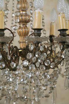 Old crystal chandelier