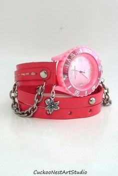 Pink Wrap Watch, Womens leather watch, Bracelet Watch, Chain Wrist Watch, Wrap Watch