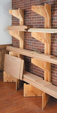 These can go on the cleated wall (though I should still store lumber in the rafters and keep wall space free). Put lumber storage where you need it when you need it with these folding lumber racks. They're simple, sturdy, and stow away when not in use. Lumber Storage Rack, Lumber Rack, Diy Garage Storage, Storage Ideas, Organization Ideas, Plywood Storage, Storage Cart, Storage Design, Craft Storage