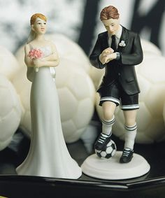 Soccer Groom and Exasperated Bride Wedding Cake Toppers